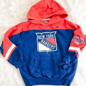 New York Rangers Hoodie Embroidered Youth Med